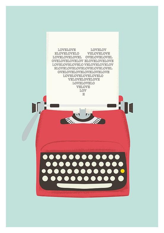 Vintage typewriter poster by handz