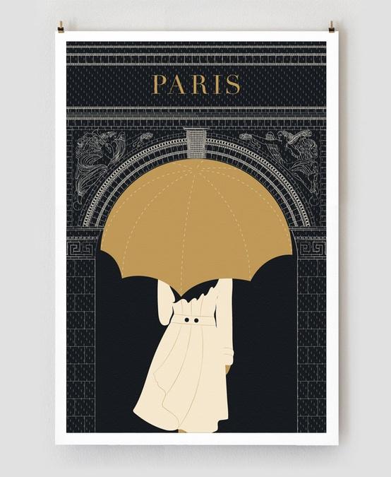Walk in the rain - Paris Traveler Print by Obvious State