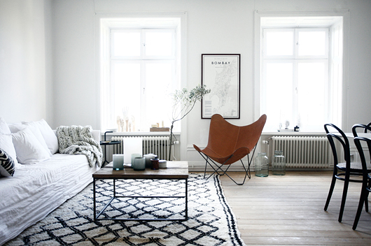 Ghost sofa, Beni Ouarain rug, Butterfly chair, Thonet chairs