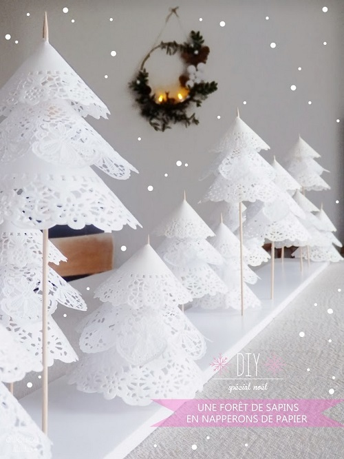 christmas trees with paper doilies by ouiouiouistudio