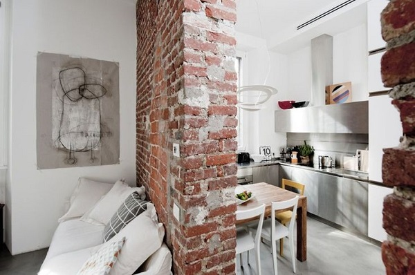 mini appartamento a Milano - mattoni a vista