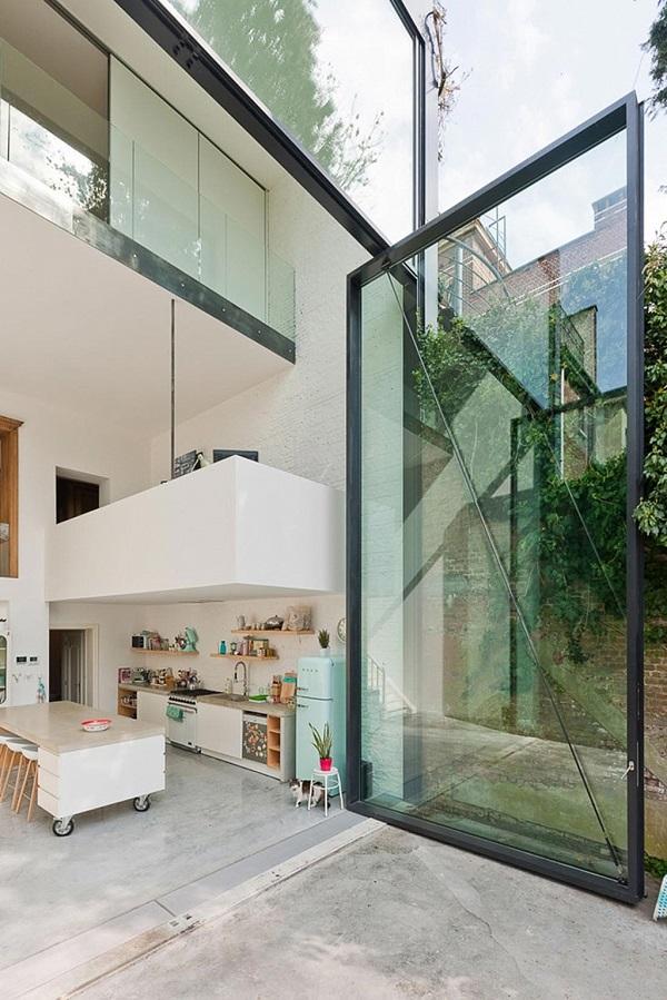 cucina con vista - vetrata, frigorifero Smeg