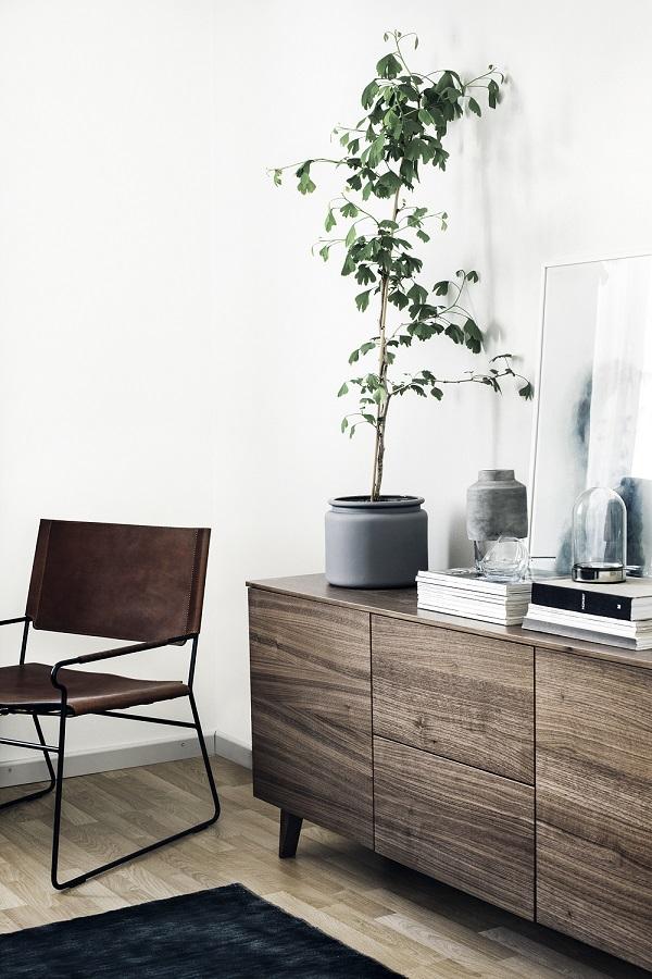 case scandinave - credenza in legno con pianta
