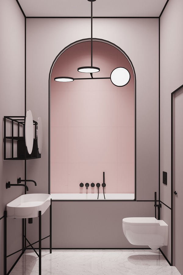 trend archi: bagno rosa, interior design by Harry Nuriev
